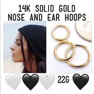 14K SOLID Gold Nose & Ear Hoop Final Sale